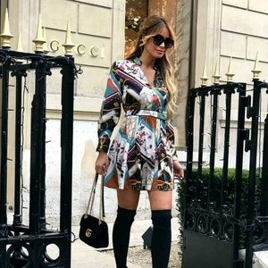 NWT Zara Patchwork Chain Link Dress Small